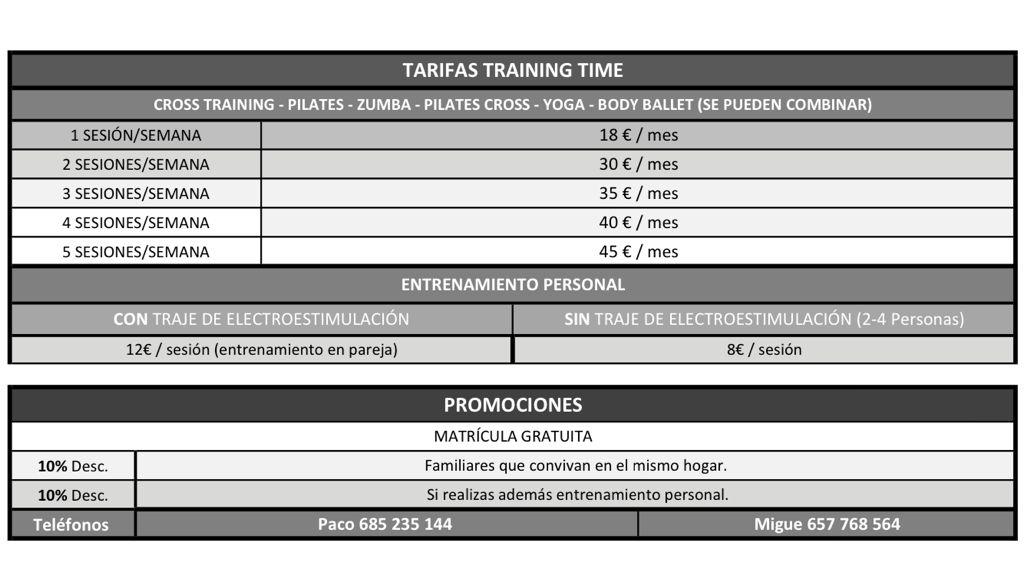 tarifas-gimnasiotrainingtime